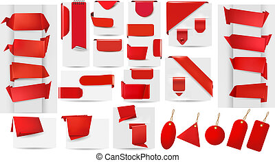 Big collection of red origami paper banners and stickers and labels.