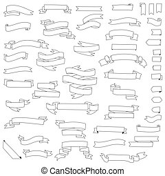 big collection of ribbons banners hand drawn isolated on white