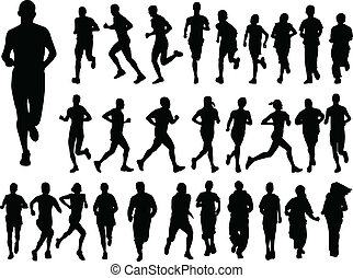 big collection of running people - illustration of big...