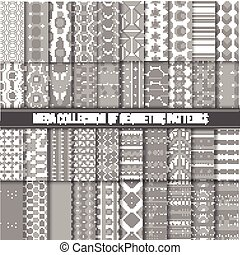 Big collection of seamless monochrome retro patterns. Hipster geometric style design.