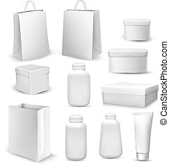 Big collection of shopping bags, gift boxes, plastic containers and cream tube.