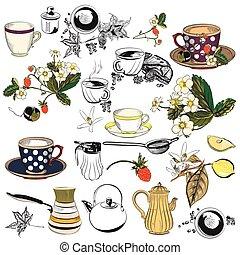 Big collection of tea and coffee cups mugs potters strawberry lemons.eps