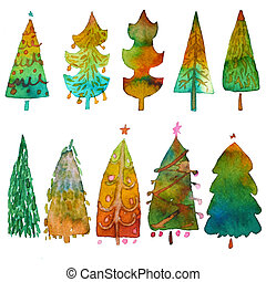 Big collection of watercolor Christmas tree isolated on a white background. Design holiday Christmas trees for wrapping paper, scrapbooking