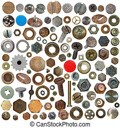 Screw heads, bolts, steel nuts - Big collection old rusty...