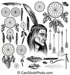 Big collection or set of hand drawn boho style elements feathers  dreamcatchers arrows and others.eps