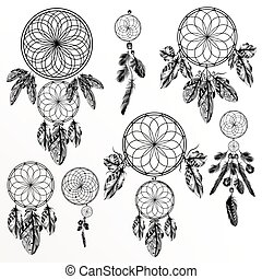 Big collection or set of hand drawn dreamcatchers boho style.eps