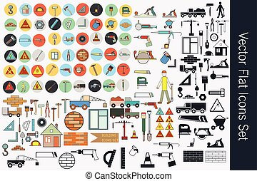 Big collection or set of vector building flat icons. Rules, breeks, tools, cars, symbols, hammers and other.eps
