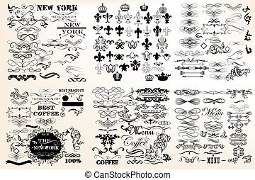 Big collection or set of vector vintage flourishes for...