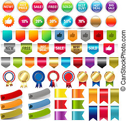 Big Collection Sale Stickers And Web Ribbons Set