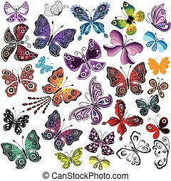Big collection silhouette colorful butterflies