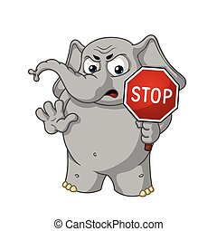Big collection vector cartoon characters of elephants on an isolated background. Stop sign holds in hands Warning Displeased