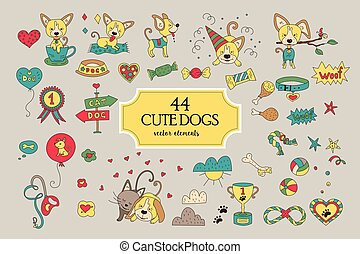 Big collection with funny vector dog characters.