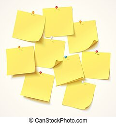 Big collection yellow sticker pinned pushbutton with curled corner, ready for your message
