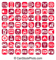 big color auto icons set