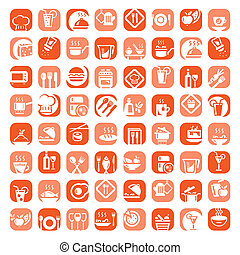 big color kitchen icons set