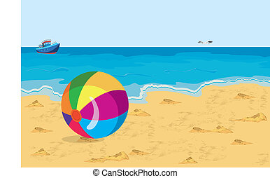 Big colorful ball on the beach seagull and ship
