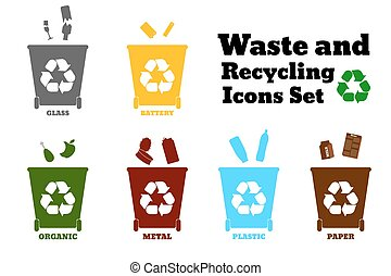 Big colorful containers for recycling waste sorting - plastic, glass, metal, paper, organic, battery. Vector illustration.