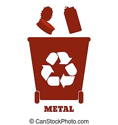 Big colorful containers for recycling waste sorting - metal....