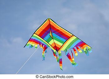 colorful kite flies high in the sky symbol of freedom and joy