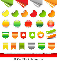 Big Colorful Labels Set With Gradient Mesh, Vector...