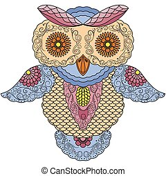 Big colourful abstract owl