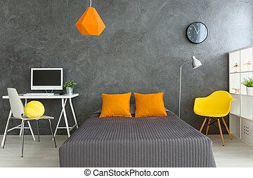 Big comfortable bed in modern room