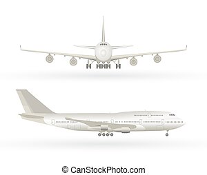 Big commercial jet airplane. Airplane in profile, from the front view. Aeroplane isolated. Aircraft vector illustration. Airline Concept Travel Passenger plane set.