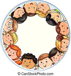 Big company joyful children different nationalities in circle