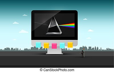 Big Computer in Abstract Urban Landscape. Vector Technology Symbol Illustration. Prism on Screen. Creative Concept.
