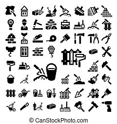 big construction and repair icons set