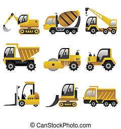 Big construction vehicles icons - A vector illustration of ...
