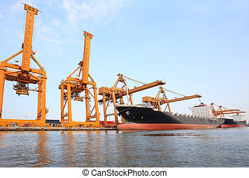 big container ship on port with big pier lifting crane  use for