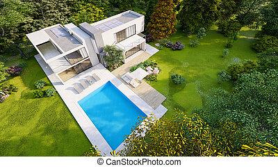 Big contemporary villa with pool, aerial view