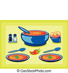 Big cooking pot and a plate with soup - Big cooking pot and...