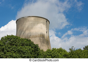 Big cooling-tower of a power plant producing electricity