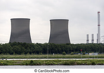 big cooling towers for the power plant in holland