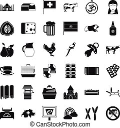 Big cow icons set, simple style