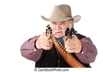 Big cowboy pointing pistols