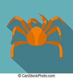 Big crab icon, flat style