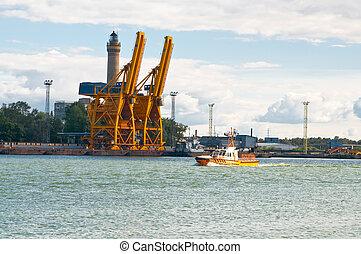 big cranes at seaport