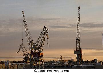 Big industrial cranes at a harbour