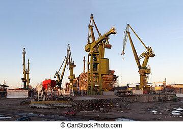Monumental shipyard cranes in Gdansk, Poland.