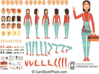 Big creation kit of girl mechanic in working clothes. Vector...