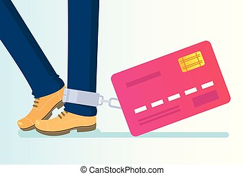Big credit card tied to leg with chains. Money credit wealth dependance addiction. Vector flat cartoon isolated illustration
