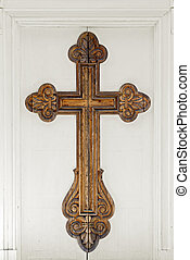 big cross on the church door