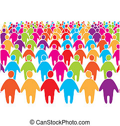Big-crowd-of-many-colors-social-peo - Big crowd of many...