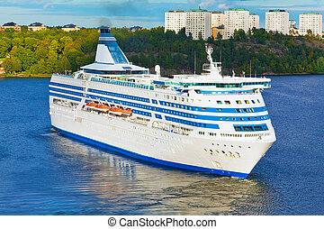 Big cruise liner in harbor of Stockholm, Sweden - Scenic...