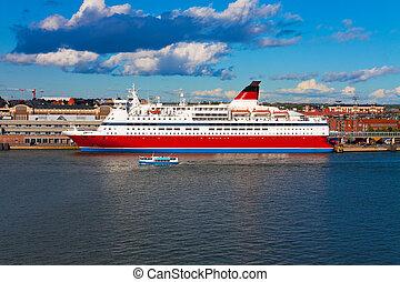 Big cruise liner docked in Helsinki port