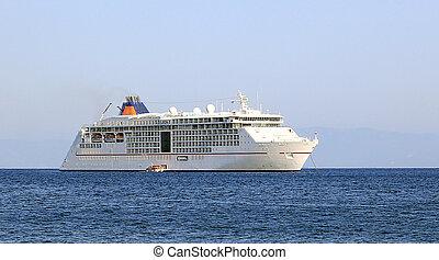 Big cruise ship in the blue sea