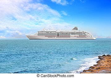 Big cruise ship in the sea.